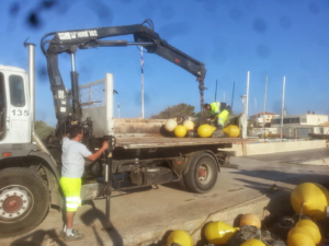 Travaux maritimes installation balisage